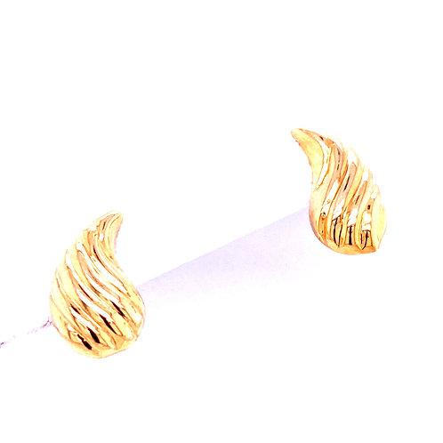 Estate 14kt Yellow Gold Leaf Post Earrings