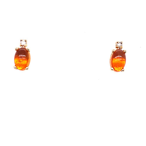14kt Yellow Gold Mexican Fire Opal And Diamond Earrings