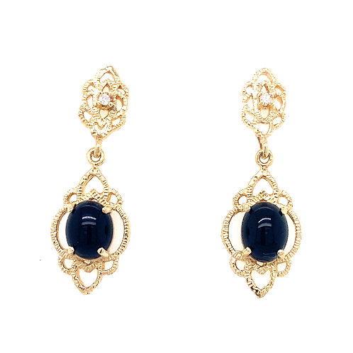 Estate 14kt Yellow Gold Black Onyx And Diamond Dangle Filigree Earrings