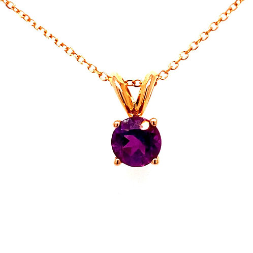 14kt Yellow Gold Round Amethyst Pendant