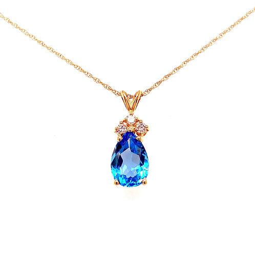 14kt Yellow Gold Pear Shaped Swiss Blue Topaz And Diamond Pendant