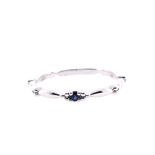 10kt White Gold Sapphire Stackable Ring