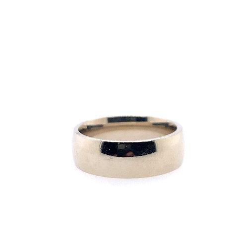 Estate 14kt White Gold 8mm Plain Comfort Fit Band