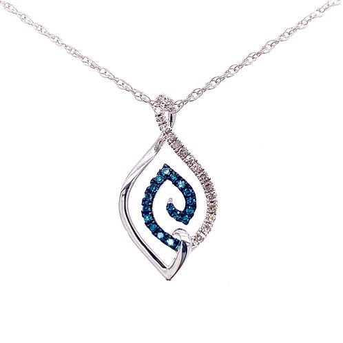 Sterling Silver Blue And White Swirl Diamond Pendant