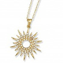 Sterling Silver Gold Plated Cubic Zirconia Starburst Pendant