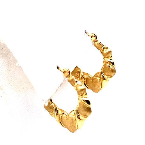 Estate 14kt Yellow Gold Heart-X Hoop Earrings