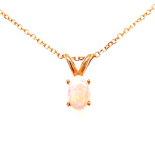 14kt Yellow Gold Opal Solitaire Pendant