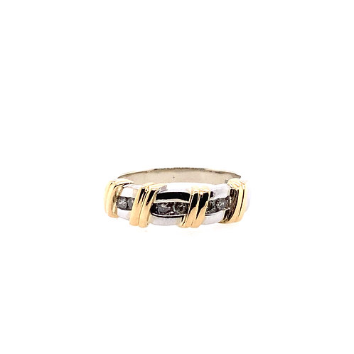 Estate 14kt Two Toned Gold Fancy Band