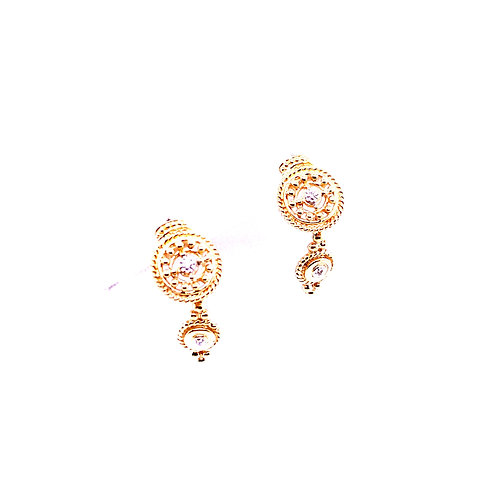 Estate 14kt Yellow Gold Double Filigree Circle With Diamonds Dangle Earrings