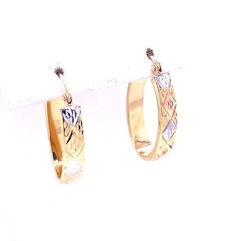Estate 10kt Diamond Cut Oval Hoop Earrings