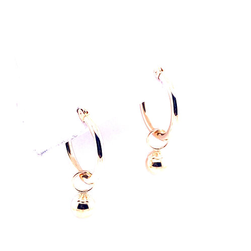 Estate 14kt Yellow Gold Hoop With Dangle Bead Earrings
