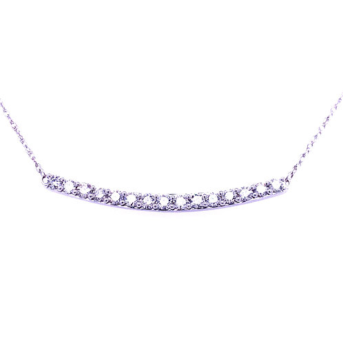 14kt White Gold Diamond Curved Bar Necklace
