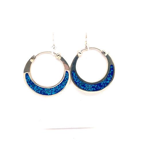 Sterling Silver Crushed Turquoise Mosaic Hoop Earrings