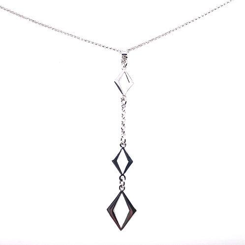 Sterling Silver Drop Diamond Shape Necklace