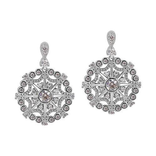 Sterling Silver Cubic Zirconia Pinwheel Vintage Drop Earrings