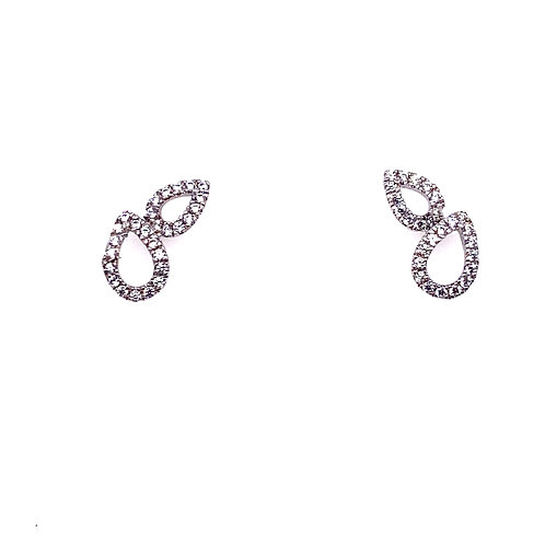 Sterling Silver Cubic Zirconia Open Double Pear Shape Earrings