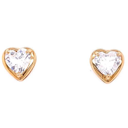 Estate 10kt Yellow Gold Cubic Zirconia Heart Earrings