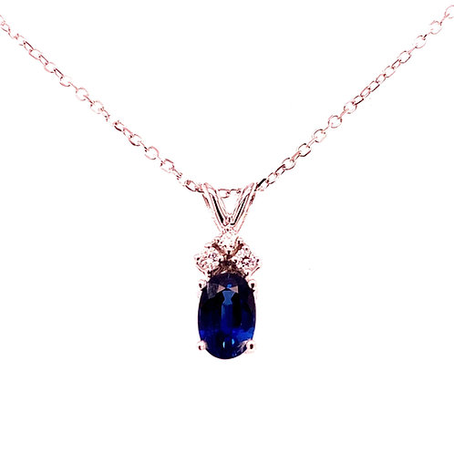 14kt White Gold Sapphire And Diamond Pendant