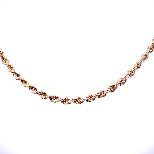 Estate 14kt Yellow Gold Hollow Rope Chain