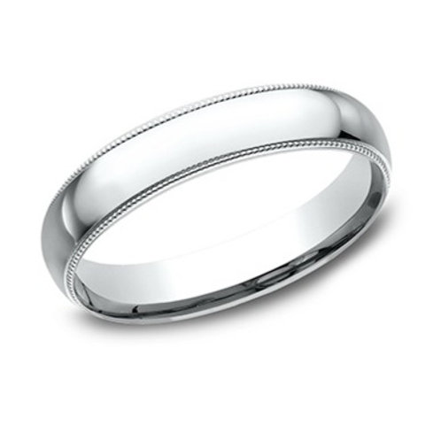 14kt White Gold Men's Comfort Fit Milgrain Edge Wedding Band
