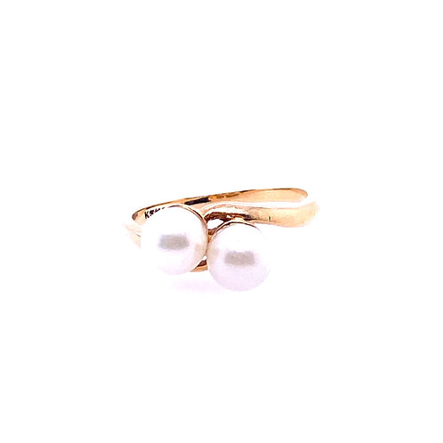 Estate 14kt Yellow Gold Double Pearl Ring