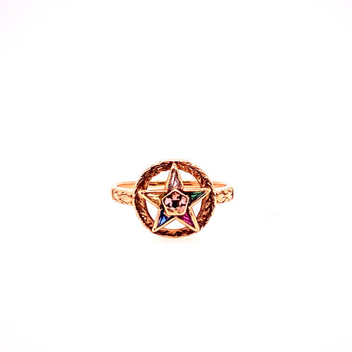 Estate 14kt Yellow Gold Eastern Star Ring