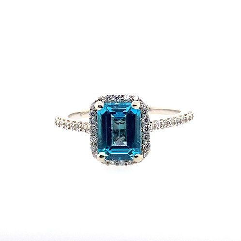 14kt White Gold Paraiba-Color Passion Topaz And Diamond Halo Ring