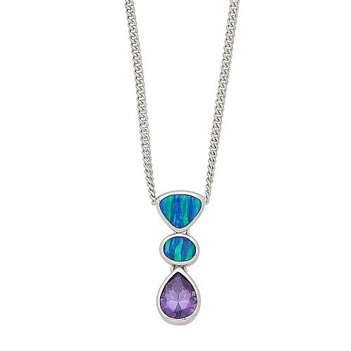 Sterling Silver Purple And Opal Colored Stone Pendant