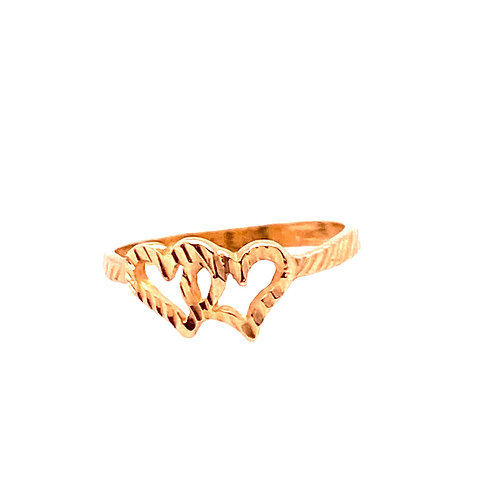 Estate 14kt Yellow Gold Double Heart Ring