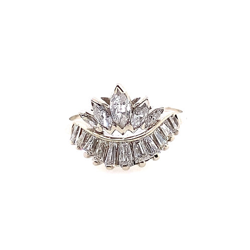 Estate 14kt White Gold Marquise And Baguette Diamond Ring
