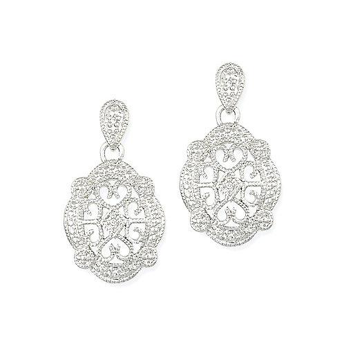 Sterling Silver Cubic Zirconia Filigree Dangle Earrings