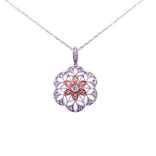 14kt Filigree Diamond Pendant