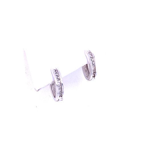 Estate 14kt White Gold Oval Diamond Hoop Earrings