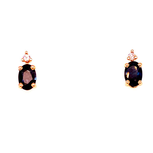 14kt Yellow Gold Oval Sapphire And Diamond Earrings