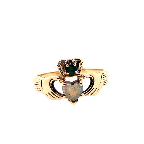 Estate 14kt Yellow Gold Opal With Emerald Claddagh Ring