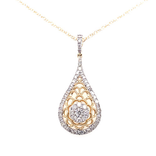 14kt Two Toned Gold Diamond Filigree Cluster Pendant