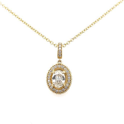 14kt Yellow Gold Oval Cut Diamond Halo Pendant With Side Diamonds