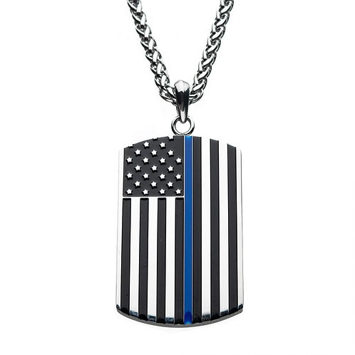 Stainless Steel Flag With Blue Stripe Necklace