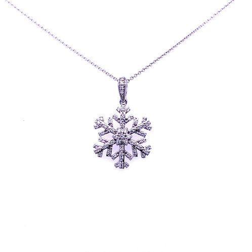 14kt White Gold Diamond Snowflake Pendant