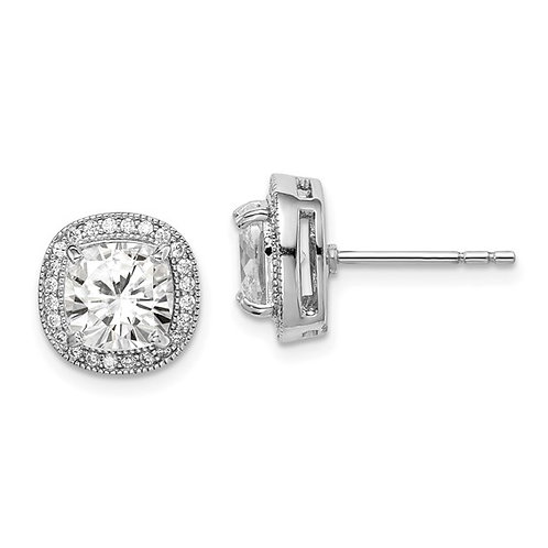 Sterling Silver Square Cubic Zirconia Halo Stud Earrings