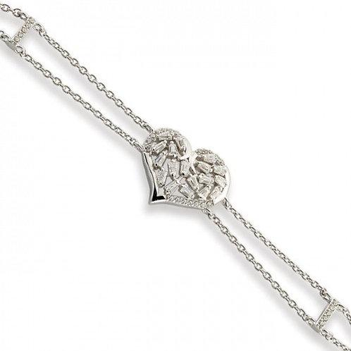 Sterling Silver Cubic Zirconia Heart Bracelet