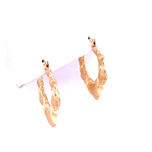 Estate 14kt Yellow Gold Heart-X Hoop Earrings
