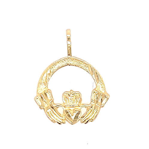 Estate 14kt Yellow Gold Claddagh Charm