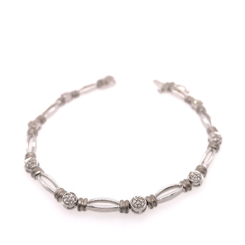 Sterling Silver Diamond Cluster Section Bracelet