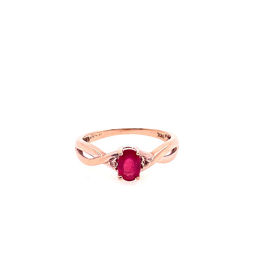 Estate 14kt White Gold Ruby And Diamond Ring