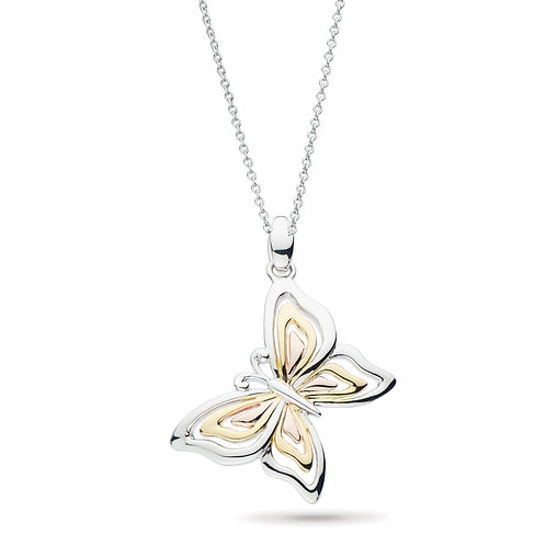 Sterling Silver Tri-Colored Butterfly Pendant