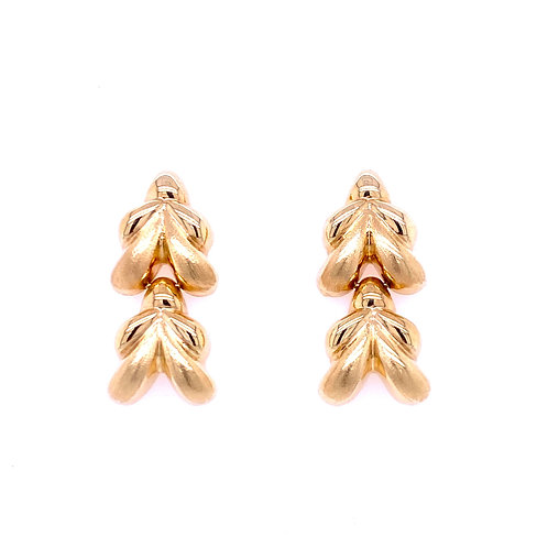 Estate 14kt Yellow Gold Brushed/Bright Dangle Earrings