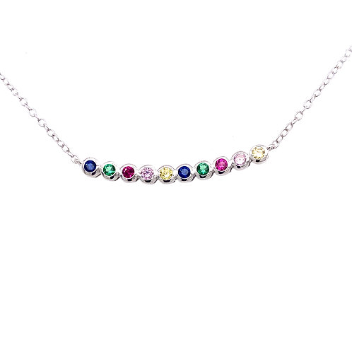 Sterling Silver Multi Colored Cubic Zirconia Curved Bar Necklace