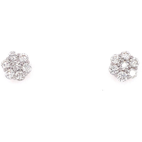 14kt White Gold Diamond Cluster Earrings