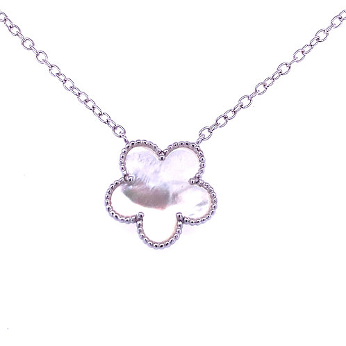 Sterling Silver Mother Of Pearl Flower Necklace
